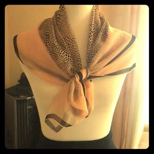 1950's vintage, blush and black scarf- squared